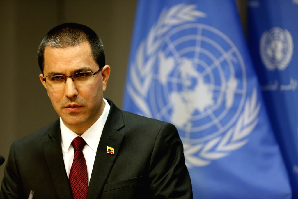 UNITED NATIONS, Feb. 23, 2019 - Venezuelan Foreign Minister Jorge Arreaza attends a press conference at the United Nations headquarters in New York, Feb. 22, 2019. Venezuelan Foreign Minister Jorge ... - Jorge Arreaza