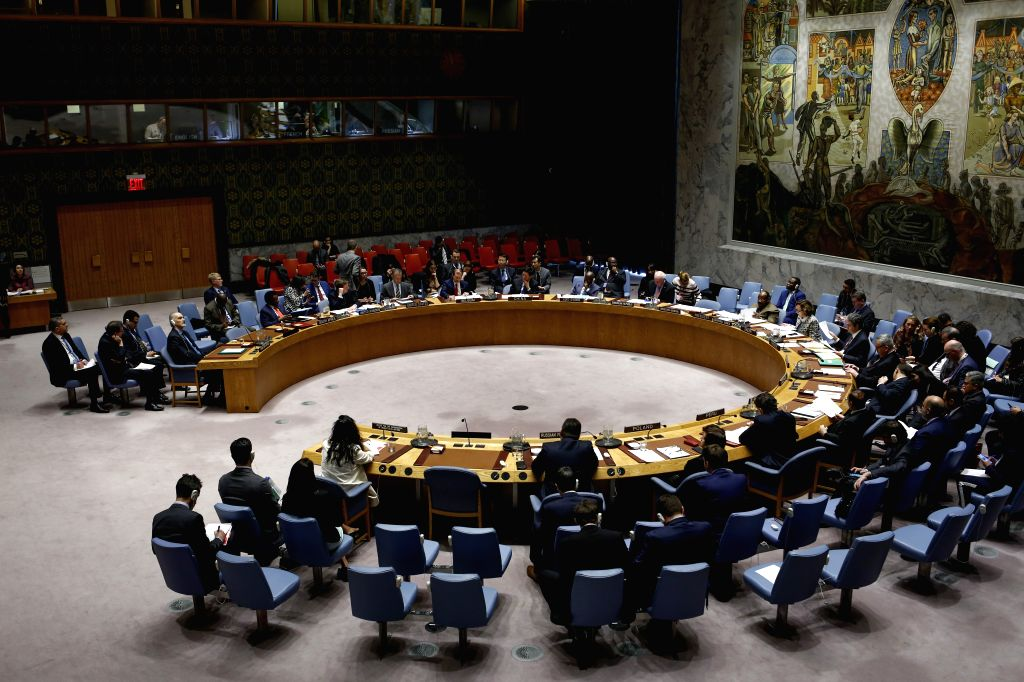UNITED NATIONS, Feb. 27, 2019 (Xinhua) -- Photo taken on Feb. 26, 2019 shows the United Nations Security Council holding a meeting on the humanitarian situation in Syria, at the UN headquarters in New York. (Xinhua/Li Muzi/IANS)