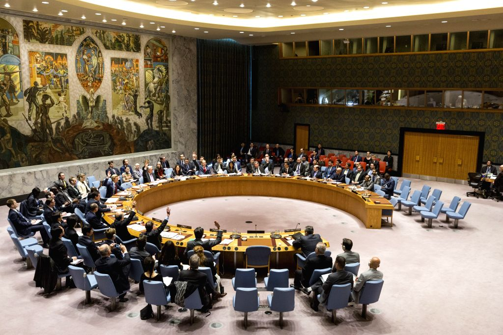 UNITED NATIONS, Feb. 28, 2017 - Photo taken on Feb. 28, 2017, shows the UN Security Council voting on a draft resolution aiming to establish a sanctions regime over use of chemicals weapons in Syria ...