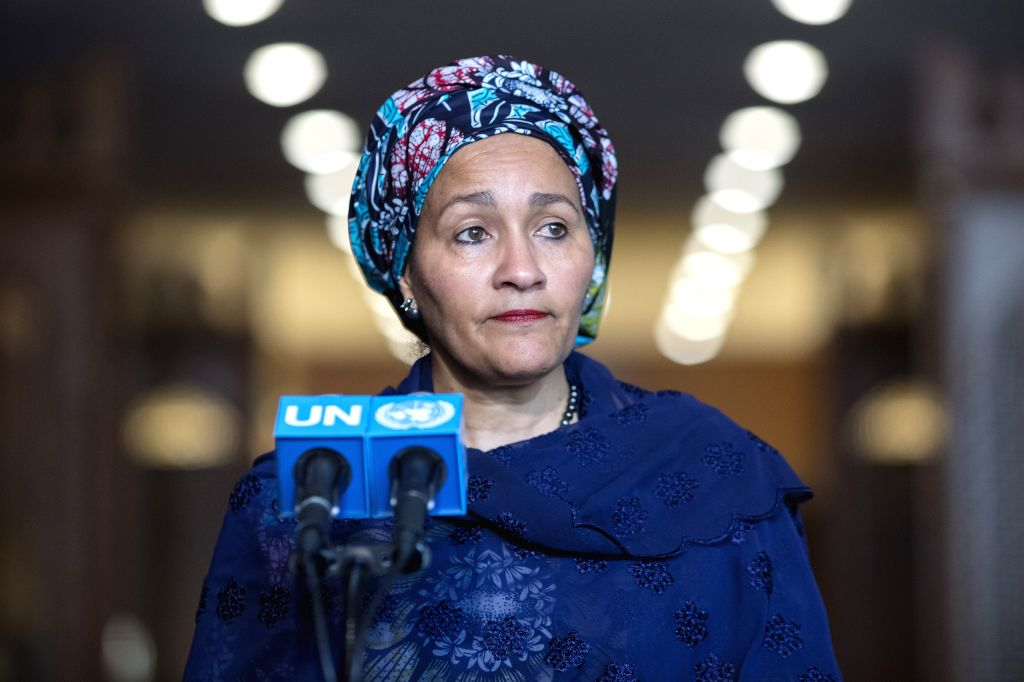 UNITED NATIONS, Feb. 28, 2017 - The new deputy UN secretary-general Amina Mohammed speaks to the press after taking the oath of office at the UN headquarters in New York, on Feb. 28, 2017. The new ...