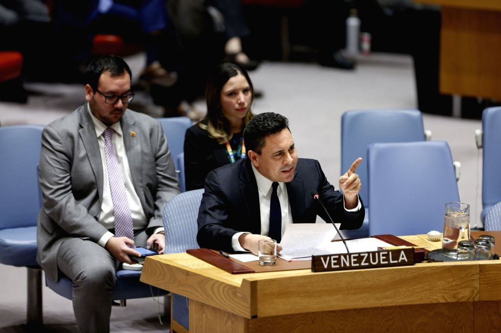 UNITED NATIONS, Feb. 28, 2019 (Xinhua) -- Samuel Moncada (front), Venezuela's Permanent Representative to the United Nations, addresses a Security Council meeting on Venezuela, at the UN headquarters in New York, Feb. 28, 2019. The UN Security Counci