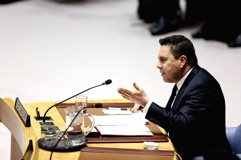 UNITED NATIONS, Feb. 28, 2019 (Xinhua) -- Samuel Moncada, Venezuela's Permanent Representative to the United Nations, addresses a Security Council meeting on Venezuela, at the UN headquarters in New York, Feb. 28, 2019. The UN Security Council on Thu
