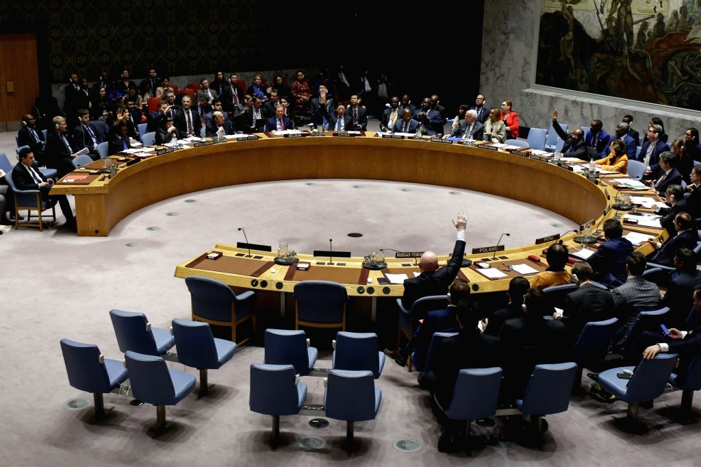 UNITED NATIONS, Feb. 28, 2019 (Xinhua) -- The photo taken on Feb. 28, 2019 shows the United Nations Security Council voting on a Russia-drafted resolution on Venezuela at the UN headquarters in New York. The UN Security Council on Thursday failed to