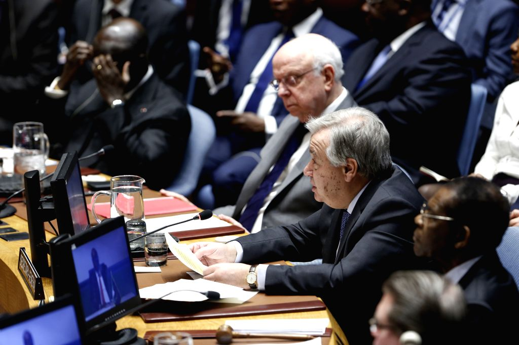 """UNITED NATIONS, Feb. 4, 2019 - United Nations Secretary-General Antonio Guterres (front, 3rd R) addresses the Security Council high-level debate """"Mercenary activities as a source of insecurity ..."""