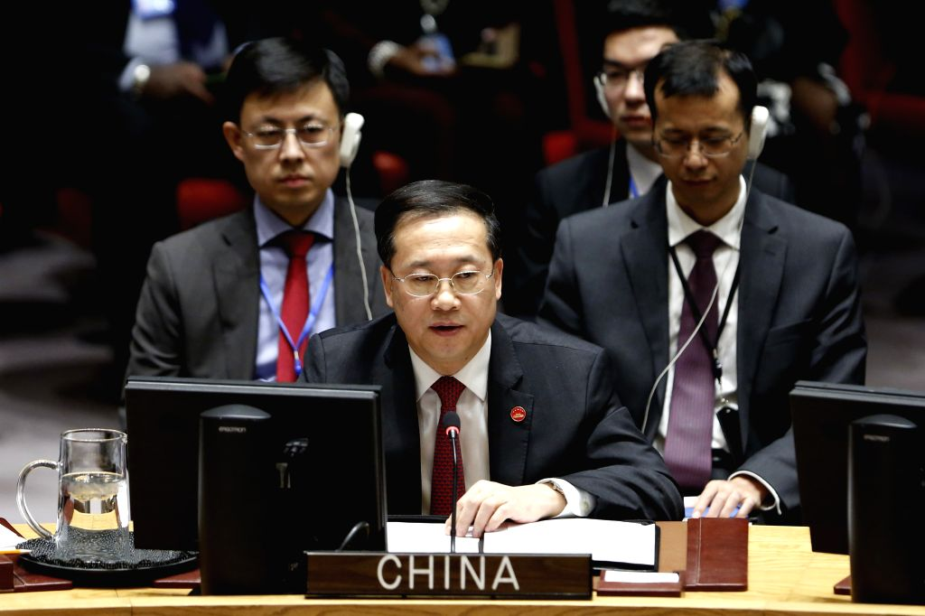 UNITED NATIONS, Feb. 5, 2019 - Chinese President Xi Jinping's special representative and Chinese Permanent Representative to the United Nations Ma Zhaoxu speaks at a UN Security Council meeting on ...