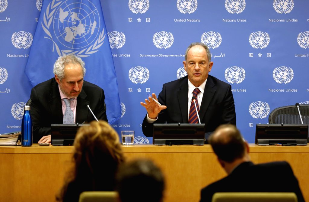 UNITED NATIONS, Feb. 6, 2019 - David Shearer, special representative of the UN secretary general and head of the UN Mission in South Sudan, speaks to journalists during a press conference at the UN ...