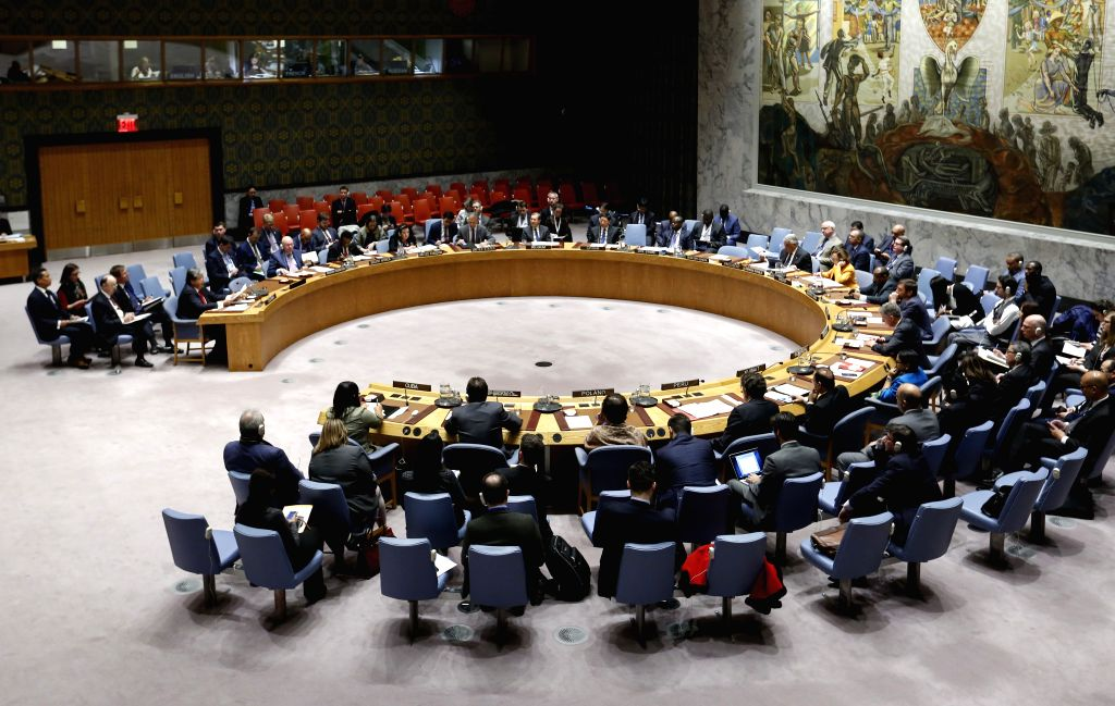 UNITED NATIONS, Jan. 24, 2019 - Photo shows the United Nations Security Council holding a meeting on the situation in Colombia, at the UN headquarters in New York, Jan. 23, 2019. The new UN envoy for ...