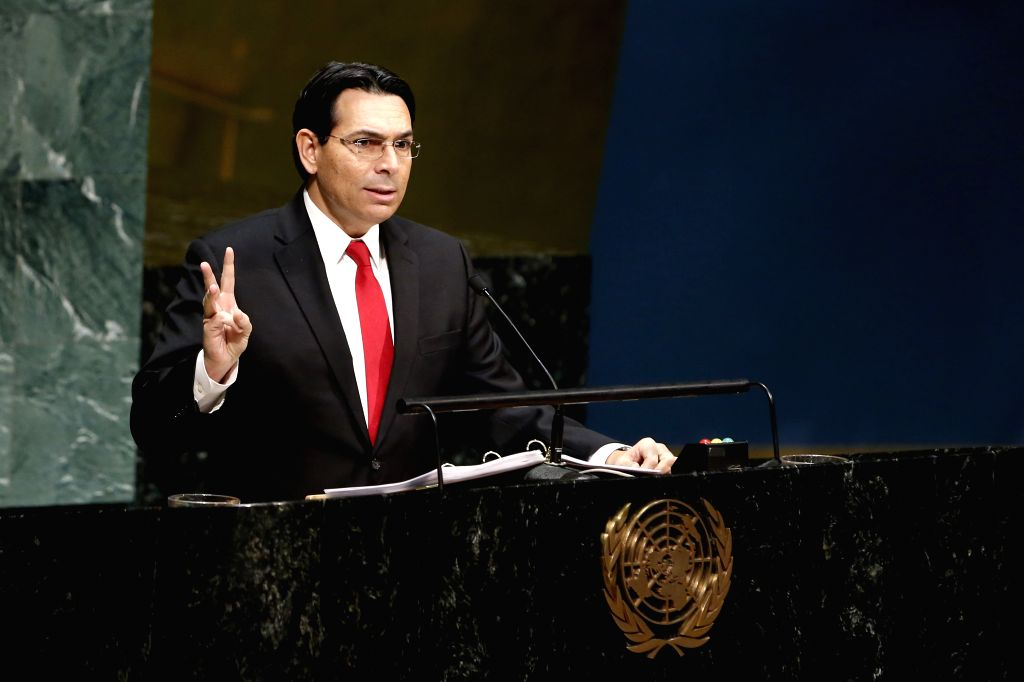 UNITED NATIONS, Jan. 28, 2019 - Israeli Ambassador to the United Nations Danny Danon addresses the Holocaust Remembrance Ceremony, at the UN headquarters in New York, Jan. 28, 2019. UN ...