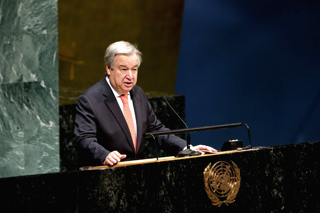 UNITED NATIONS, Jan. 28, 2019 (Xinhua) -- United Nations Secretary-General Antonio Guterres addresses the Holocaust Remembrance Ceremony, at the UN headquarters in New York, Jan. 28, 2019. Guterres on Monday said that the old anti-Semitism is back an