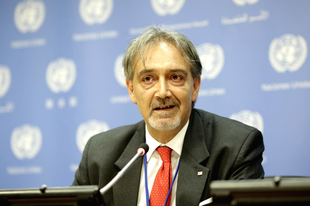 UNITED NATIONS, July 12, 2018 - Francesco Rocca, President of International Federation of Red Cross and Red Crescent Societies (IFRC), briefs the press on IFRC's report at the UN headquarters in New ...