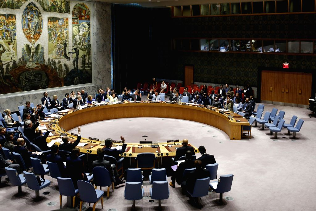 UNITED NATIONS, July 13, 2018 - Photo taken on July 13, 2018 shows the United Nations Security Council voting on a resolution on Darfur at the UN headquarters in New York. The UN Security Council on ...