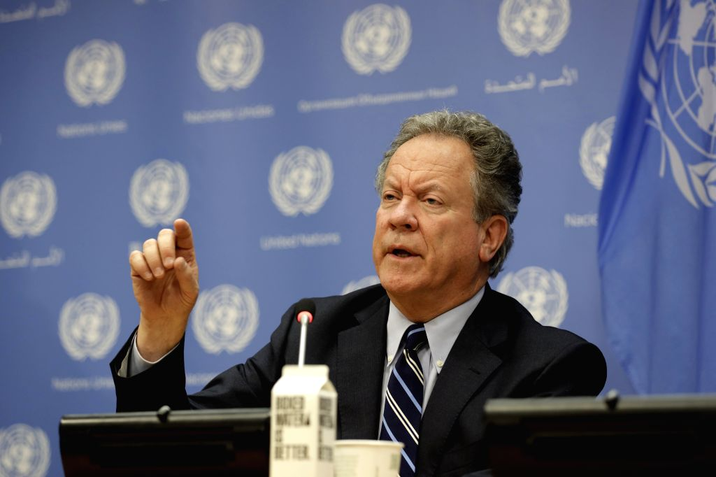 """UNITED NATIONS, July 15, 2019 - David Beasley,  Executive Director of the World Food Programme (WFP), speaks to journalists during a press briefing on the launch of """"The State of Food Security ..."""