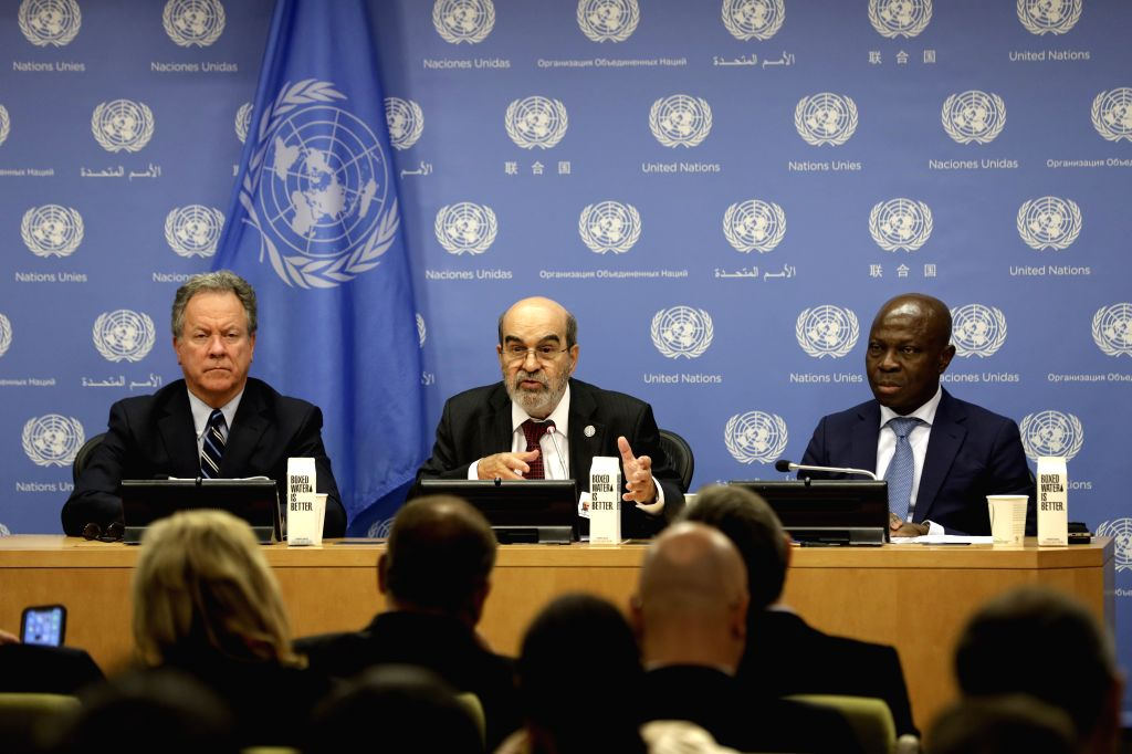 UNITED NATIONS, July 15, 2019 - David Beasley (L),  Executive Director of the World Food Programme (WFP), Jose Graziano Da Silva (C), Director-General of the Food and Agriculture Organization (FAO), ...