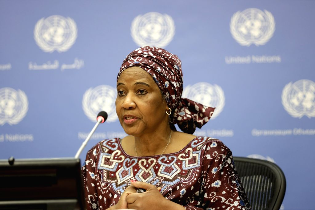 UNITED NATIONS, July 15, 2019 - Executive Director of UN Women Phumzile Mlambo-Ngcuka speaks to journalists during a press briefing on gender equality and women's leadership for a sustainable world, ...