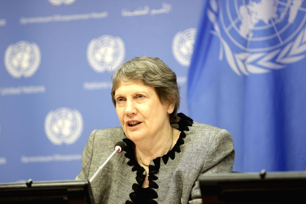 UNITED NATIONS, July 15, 2019 - Former Prime Minister of New Zealand Helen Clark speaks to journalists during a press briefing on gender equality and women's leadership for a sustainable world, at ...