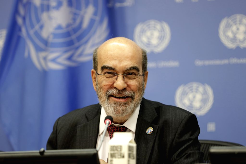 """UNITED NATIONS, July 15, 2019 - Jose Graziano da Silva, Director-General of the United Nations Food and Agriculture Organization (FAO), attends a press briefing on the launch of """"The State of ..."""