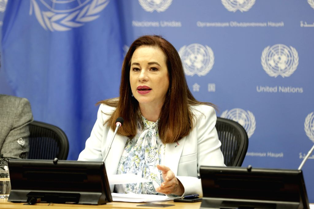 UNITED NATIONS, July 15, 2019 - United Nations General Assembly (UNGA) President Maria Fernanda Espinosa Garces speaks to journalists during a press briefing on gender equality and women's leadership ...