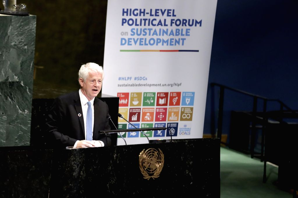 UNITED NATIONS, July 16, 2019 - British screenwriter, producer and film director Richard Curtis addresses the opening ceremony of the High-level Segment of the Economic and Social Council (ECOSOC) ... - Richard Curtis