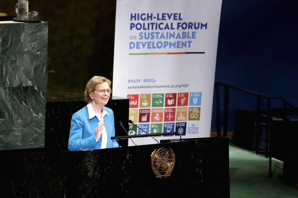 UNITED NATIONS, July 16, 2019 - Mary Robinson, Chair of The Elders, addresses the opening ceremony of the High-level Segment of the Economic and Social Council (ECOSOC) Ministerial Segment of the ...