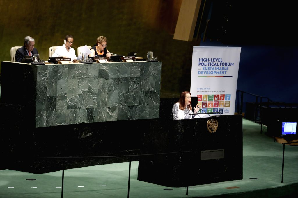 UNITED NATIONS, July 16, 2019 - United Nations General Assembly (UNGA) President Maria Fernanda Espinosa Garces (front) addresses the opening ceremony of the High-level Segment of the Economic and ...