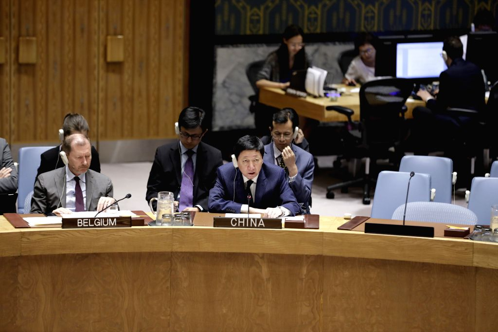 UNITED NATIONS, July 16, 2019 - Wu Haitao (R, front), China's deputy permanent representative to the United Nations, addresses the Security Council's meeting on the situation in Ukraine, at the UN ...