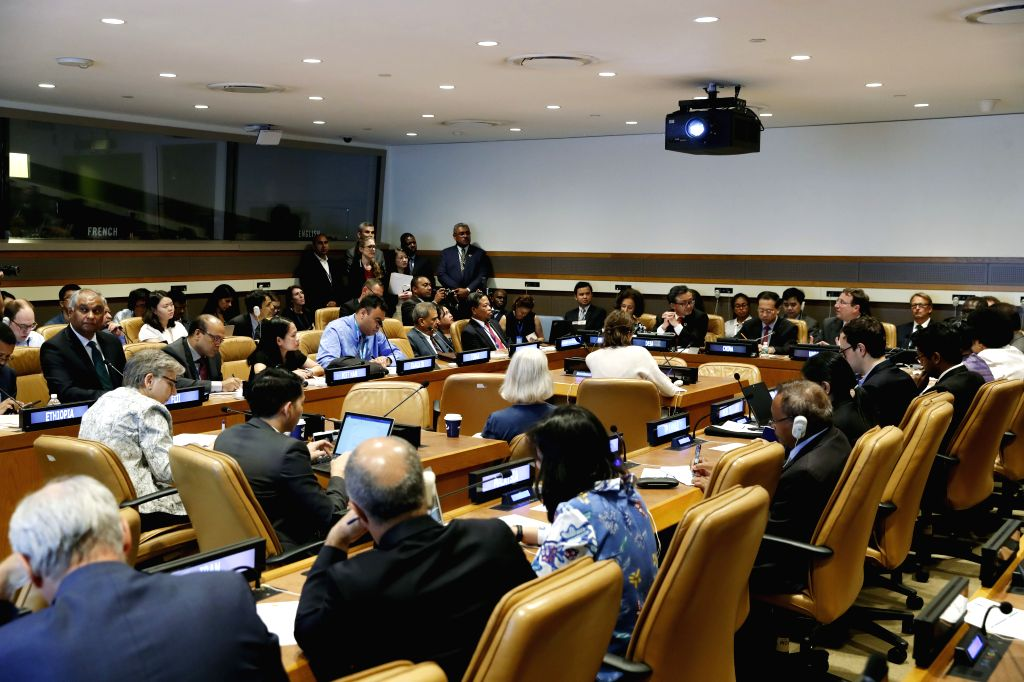 UNITED NATIONS, July 17, 2018 - Photo taken on July 16, 2018 shows the scene of the High-level Side Event Addressing Unbalanced and Inadequate Development to Achieve the SDGs (Sustainable Development ...