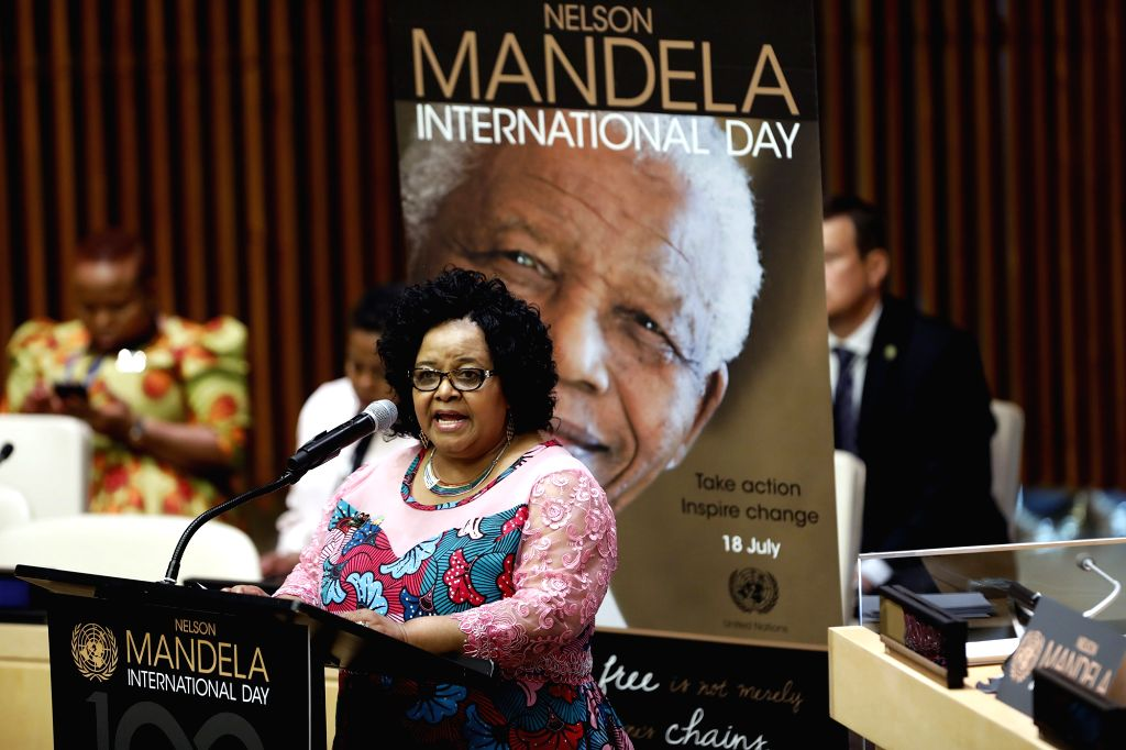 UNITED NATIONS, July 18, 2018 - South Africa's Minister of Environmental Affairs Edna Molewa speaks at a United Nations General Assembly event on the occasion of Mandela Day at the UN headquarters in ...