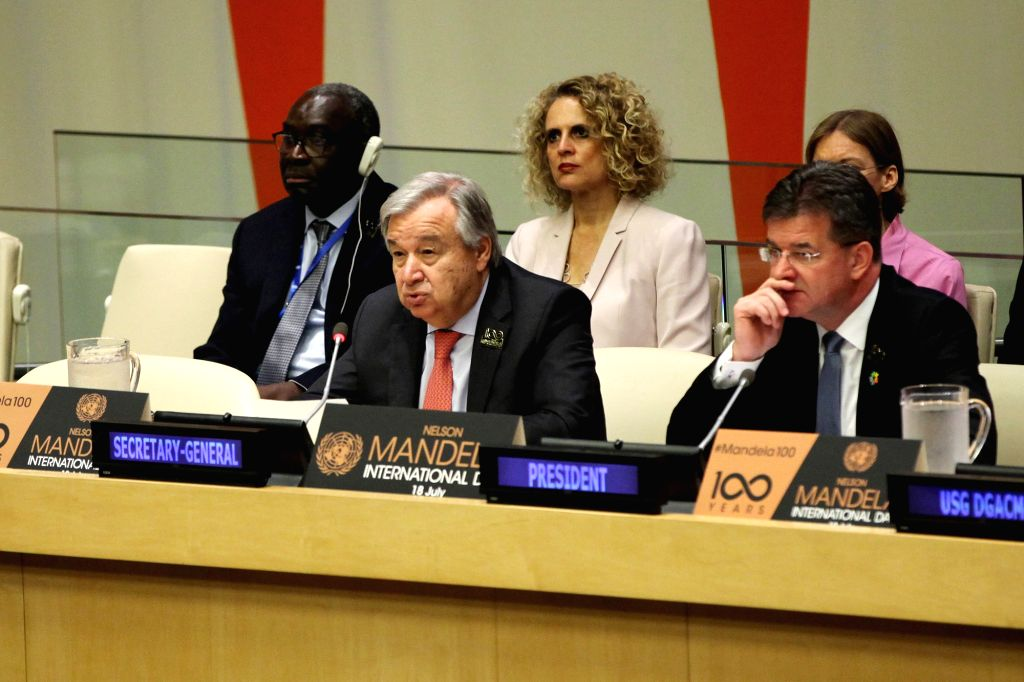 UNITED NATIONS, July 18, 2018 - United Nations Secretary-General Antonio Guterres (L, Front) speaks at a UN General Assembly event on the occasion of Mandela Day at the UN headquarters in New York, ...