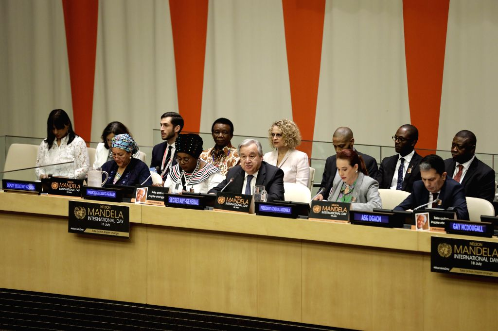 UNITED NATIONS, July 18, 2019 - United Nations Secretary-General Antonio Guterres (3rd R, front) addresses a meeting of the UN General Assembly on the observance of the annual Nelson Mandela ...