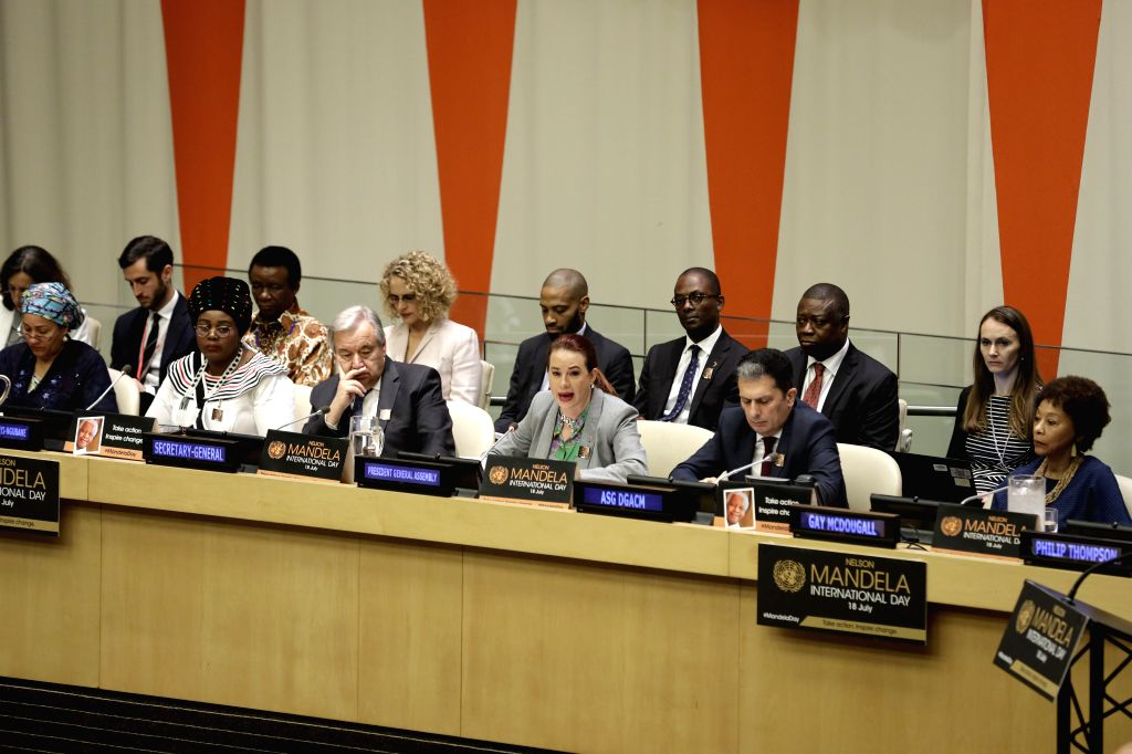 UNITED NATIONS, July 18, 2019 - United Nations General Assembly (UNGA) President Maria Fernanda Espinosa Garces (3rd R, front) addresses a meeting on the observance of the annual Nelson Mandela ...