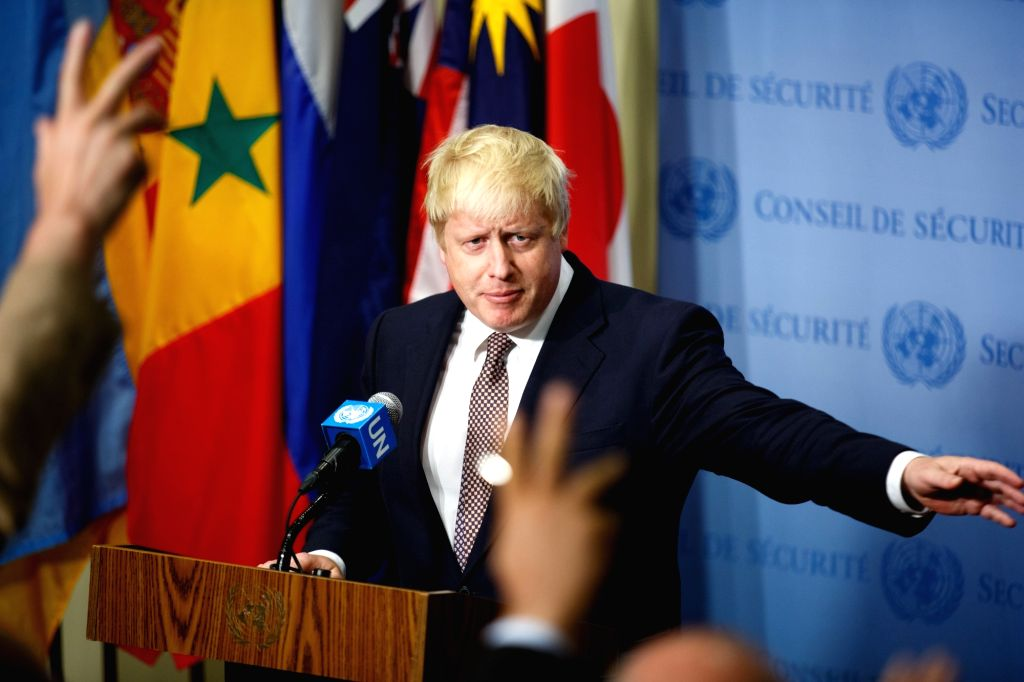 UNITED NATIONS, July 22, 2016 - British Foreign Secretary Boris Johnson speaks to the press at the United Nations headquarters in New York, July 22, 2016. British Foreign Secretary Boris Johnson, ...