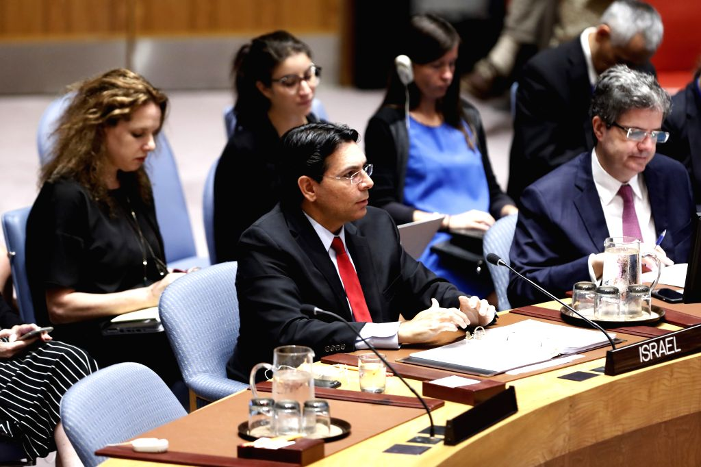 UNITED NATIONS, July 24, 2018 - Israeli Ambassador to the United Nations Danny Danon (L, front) briefs the UN Security Council during a meeting at the UN headquarters in New York, July 24, 2018. UN ...