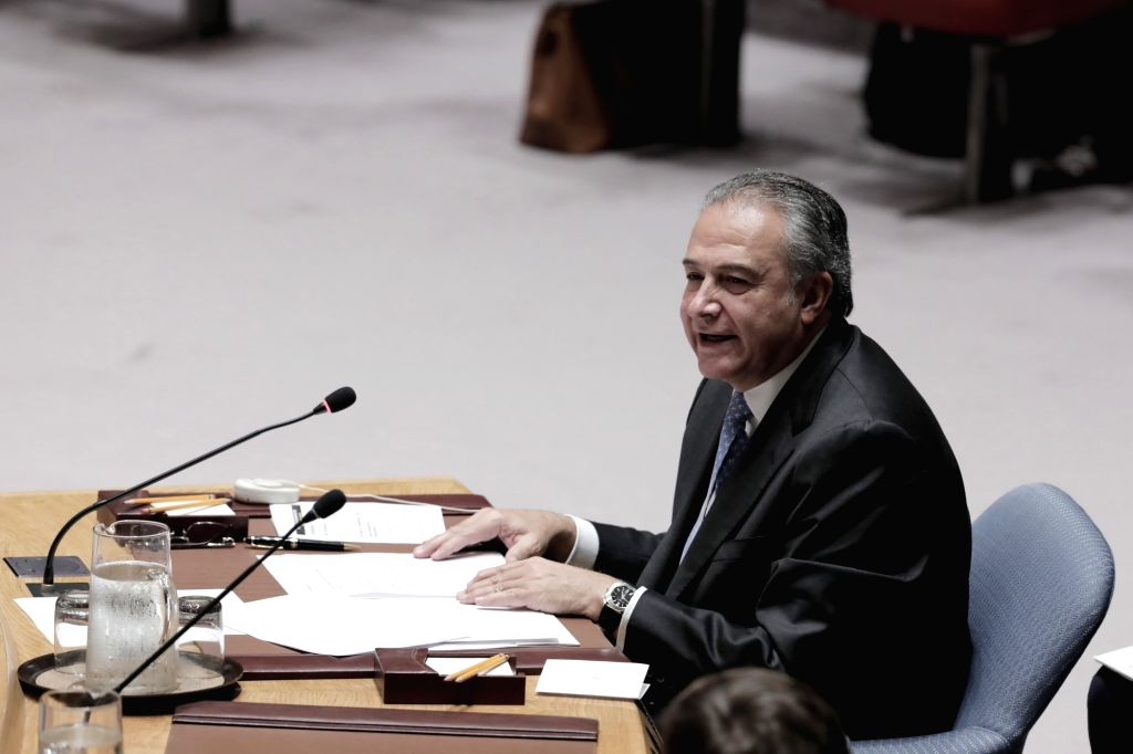 UNITED NATIONS, July 26, 2018 - Oscar Naranjo, Vice President of Colombia, addresses the United Nations Security Council meeting on the situation of Colombia at the UN headquarters in New York, on ...