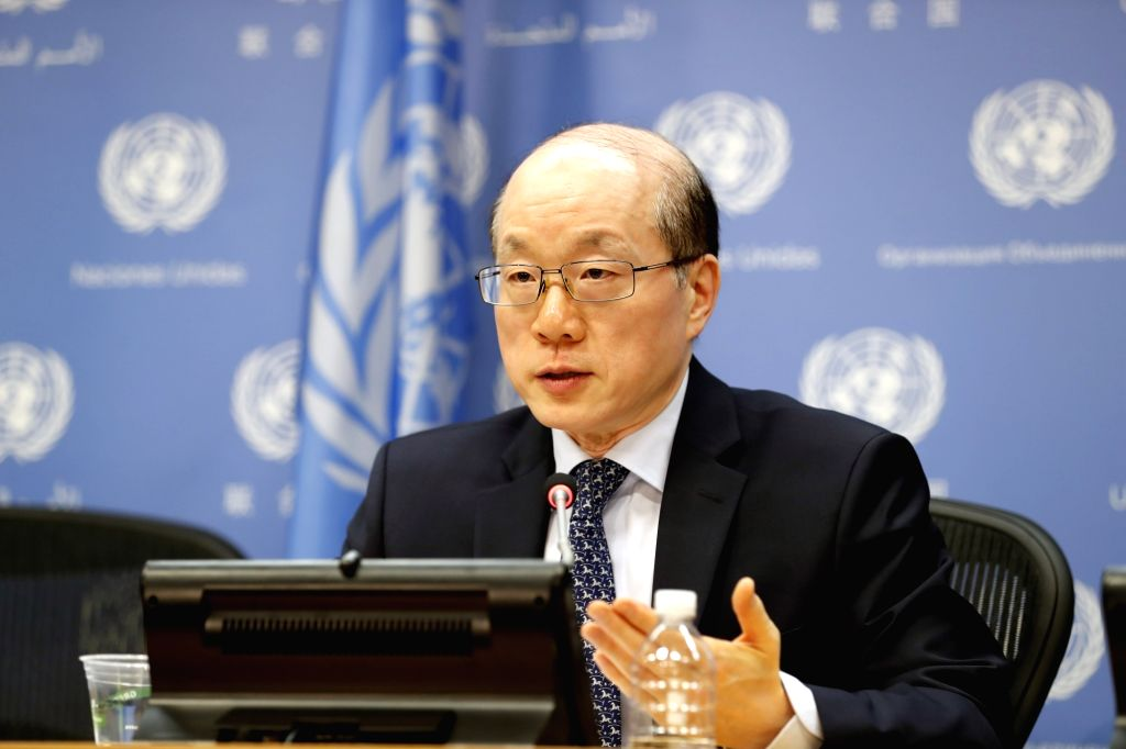UNITED NATIONS, July 4, 2017 - Liu Jieyi, China's permanent representative to the Unite Nations and UN Security Council president for July, attends a press conference at the UN headquarters, July 4, ...
