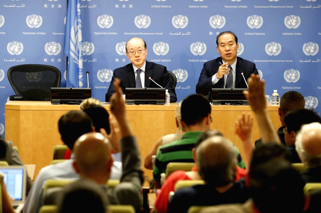 UNITED NATIONS, July 4, 2017 - Liu Jieyi (L), China's permanent representative to the Unite Nations and UN Security Council president for July, attends a press conference at the UN headquarters, July ...