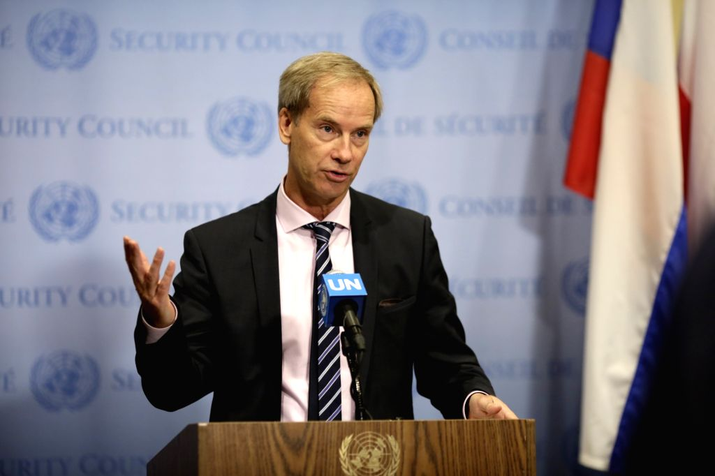 UNITED NATIONS, July 5, 2018 - Swedish ambassador to the UN Olof Skoog briefs journalists on the situation in Yemen at the UN headquarters in New York, on July 5, 2018. The UN Security Council ...