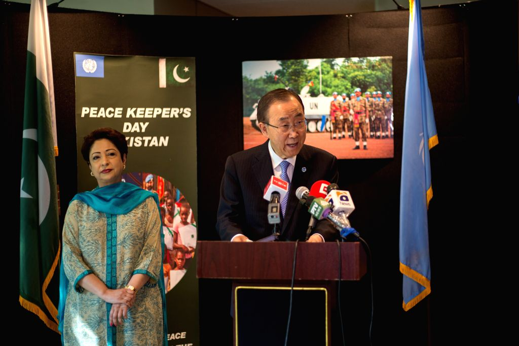 UNITED NATIONS, June 1, 2016 - United Nations Secretary-General Ban Ki-moon(R) speaks during Pakistani Peacekeepers Day, at the UN headquarters in New York, June 1, 2016. UN Secretary-General Ban ...