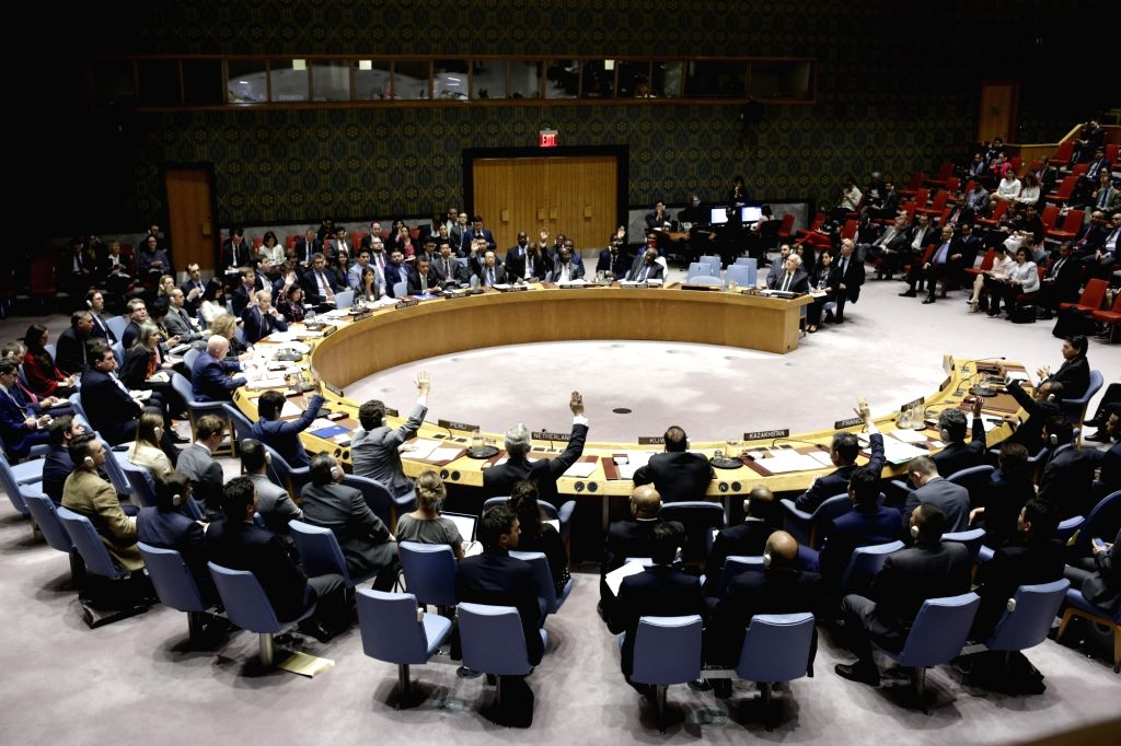 UNITED NATIONS, June 1, 2018 - Photo taken on June 1, 2018 shows the United Nations Security Council voting on a U.S.-drafted resolution on the question of Palestine at the UN headquarters in New ...