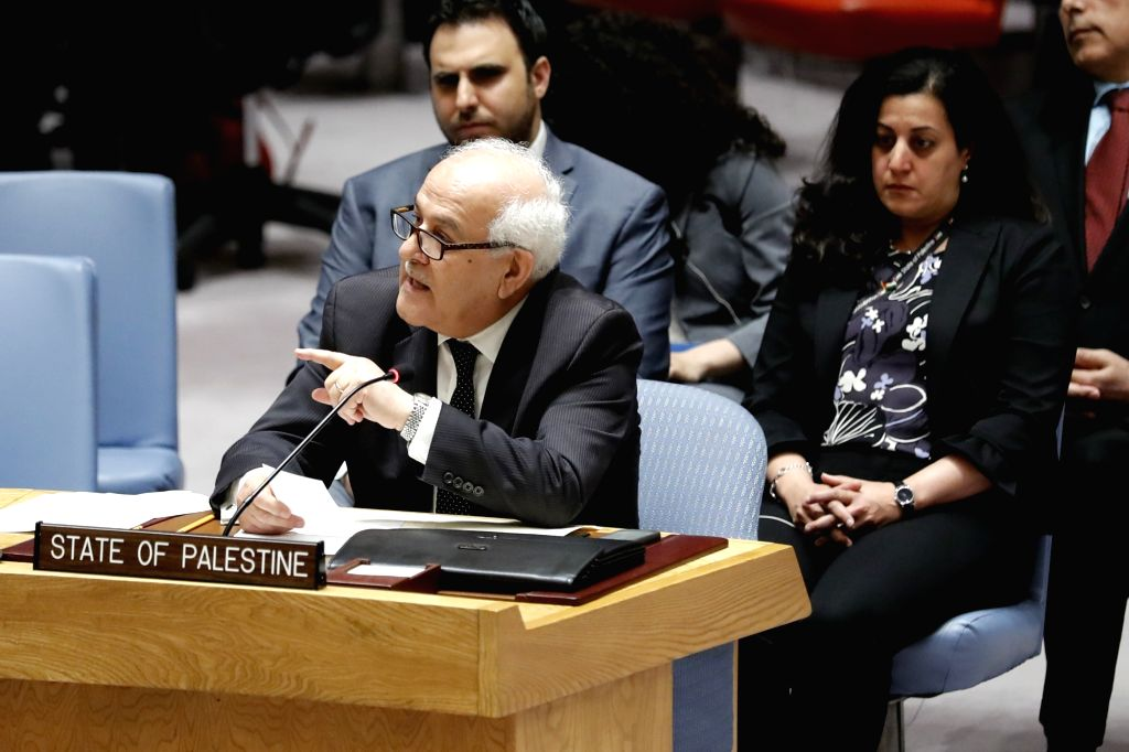 UNITED NATIONS, June 1, 2018 - Riyad Mansour (front), Permanent Observer of Palestine to the United Nations, speaks after the Security Council failed to adopt two draft resolutions on Palestine at ...