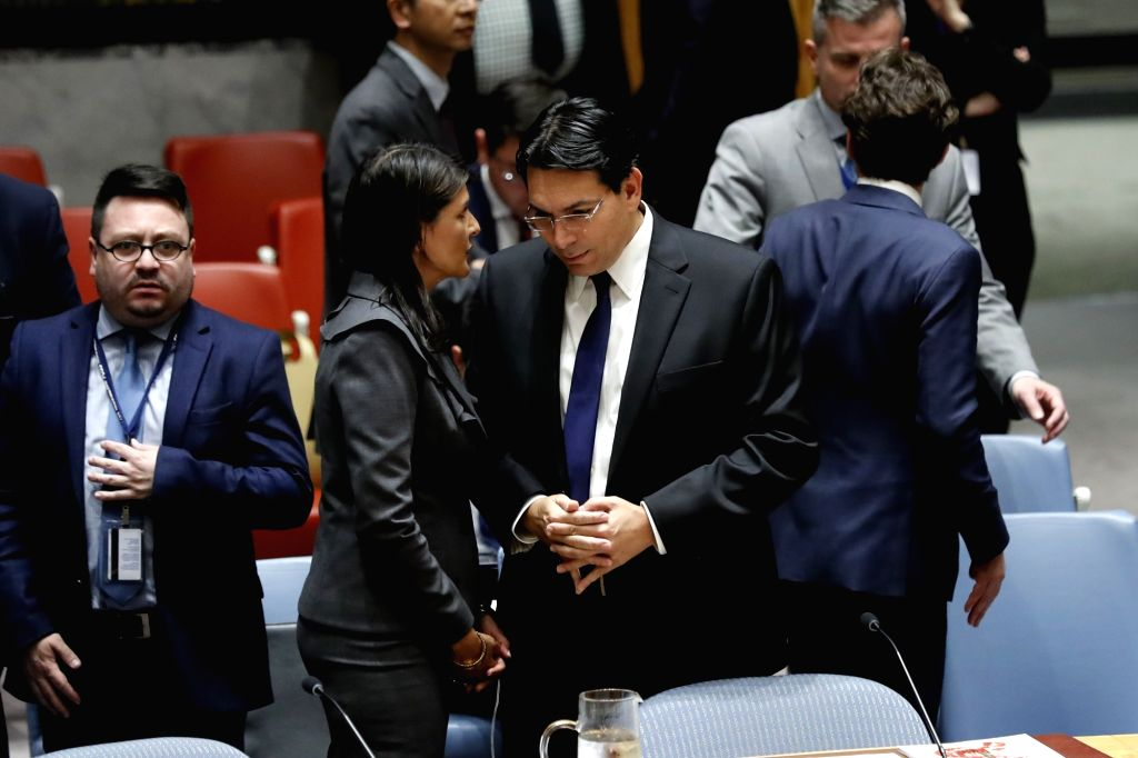 UNITED NATIONS, June 1, 2018 - U.S. Ambassador to the United Nations Nikki Haley (L, front) talks with Israeli Ambassador to the UN Danny Danon (R, front) prior to a Security Council meeting on ...