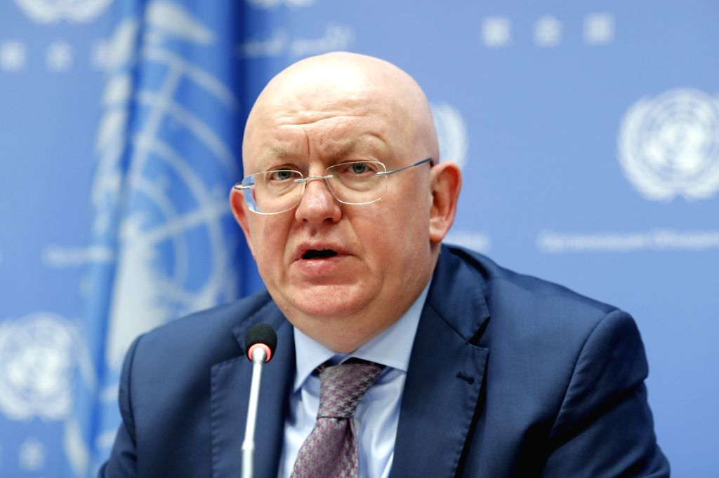 UNITED NATIONS, June 1, 2018 - Vassily Nebenzia, Russian Ambassador to the United Nations and President of the Security Council for the month of June, speaks during a press conference at the UN ...