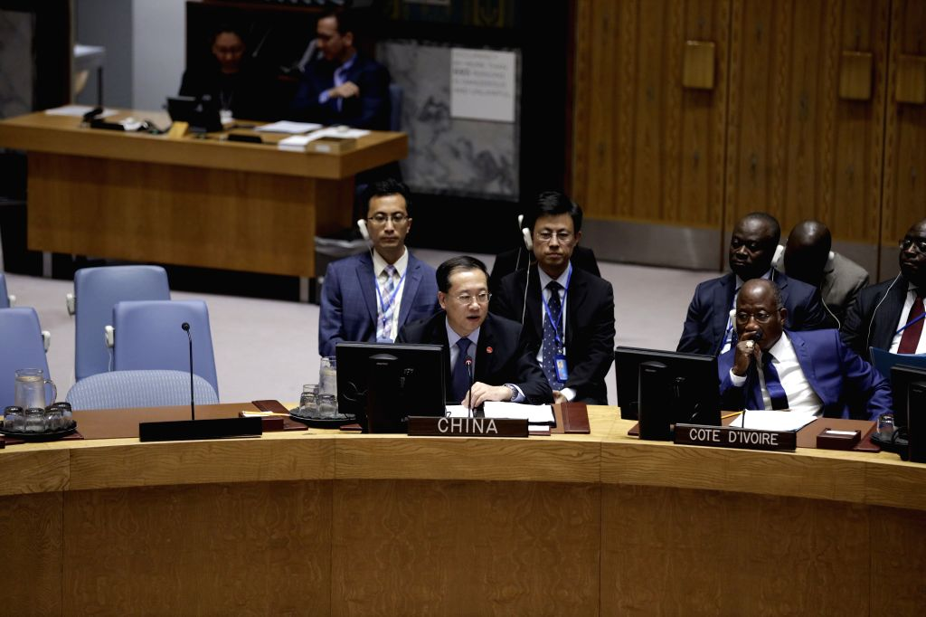 UNITED NATIONS, June 11, 2019 - Ma Zhaoxu (L, Front), China's permanent representative to the United Nations, addresses a UN Security Council meeting on the protection of civilians and missing ...