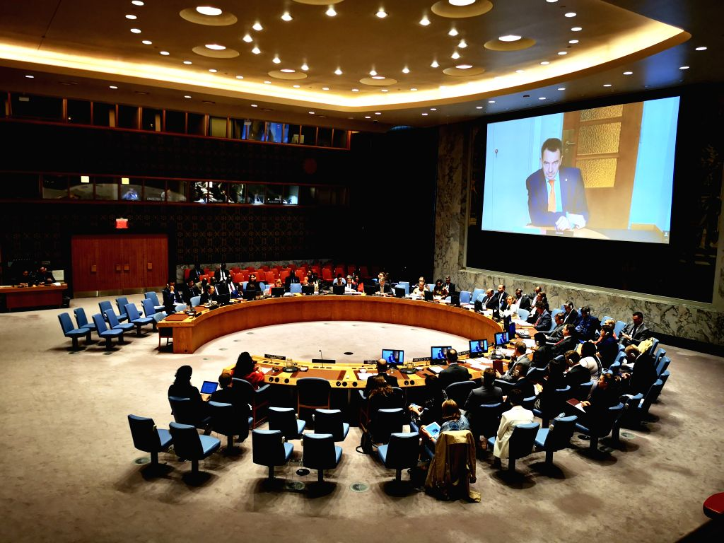 UNITED NATIONS, June 11, 2019 - Photo taken on June 11, 2019 shows the United Nations Security Council holding a meeting on the protection of civilians and missing persons in armed conflict at the UN ...