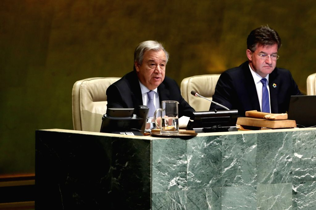 UNITED NATIONS, June 12, 2018 - United Nations Secretary-General Antonio Guterres (L) makes remarks on the Implementation of the Declaration of Commitment on HIV/AIDS and the political declarations ...