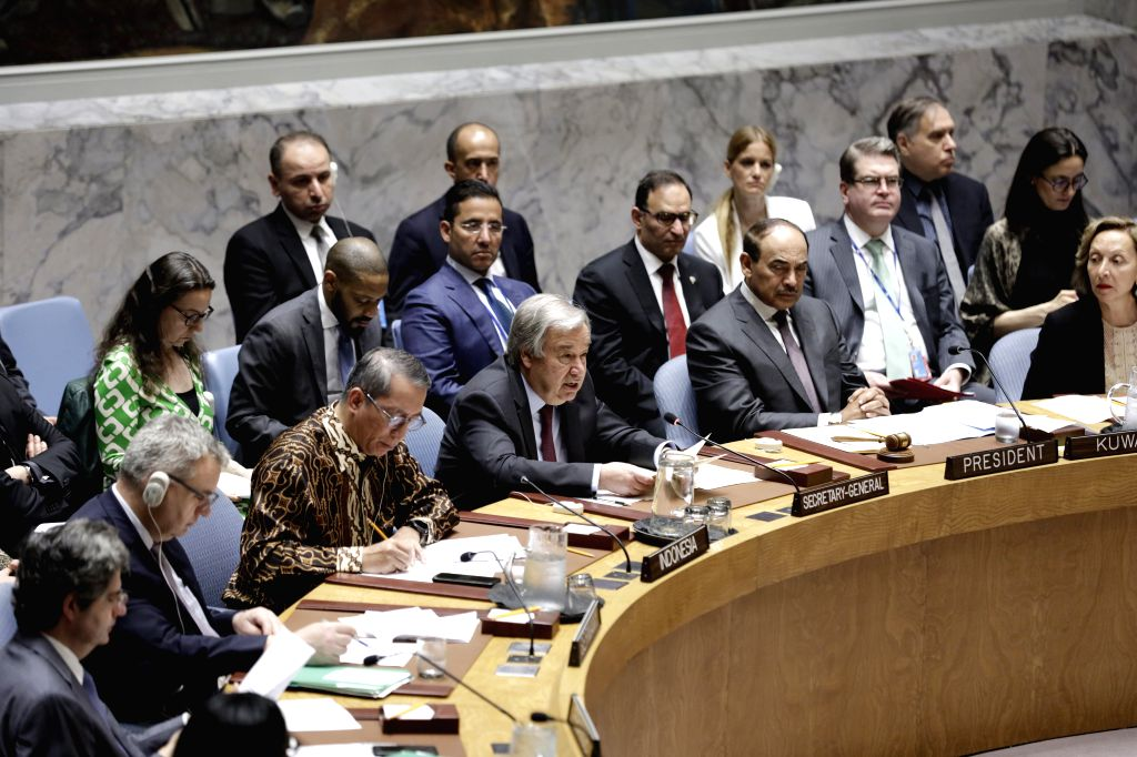 UNITED NATIONS, June 12, 2019 - United Nations Secretary-General Antonio Guterres (3rd R, front) briefs a Security Council meeting on conflict prevention and meditation, at the UN headquarters in New ...