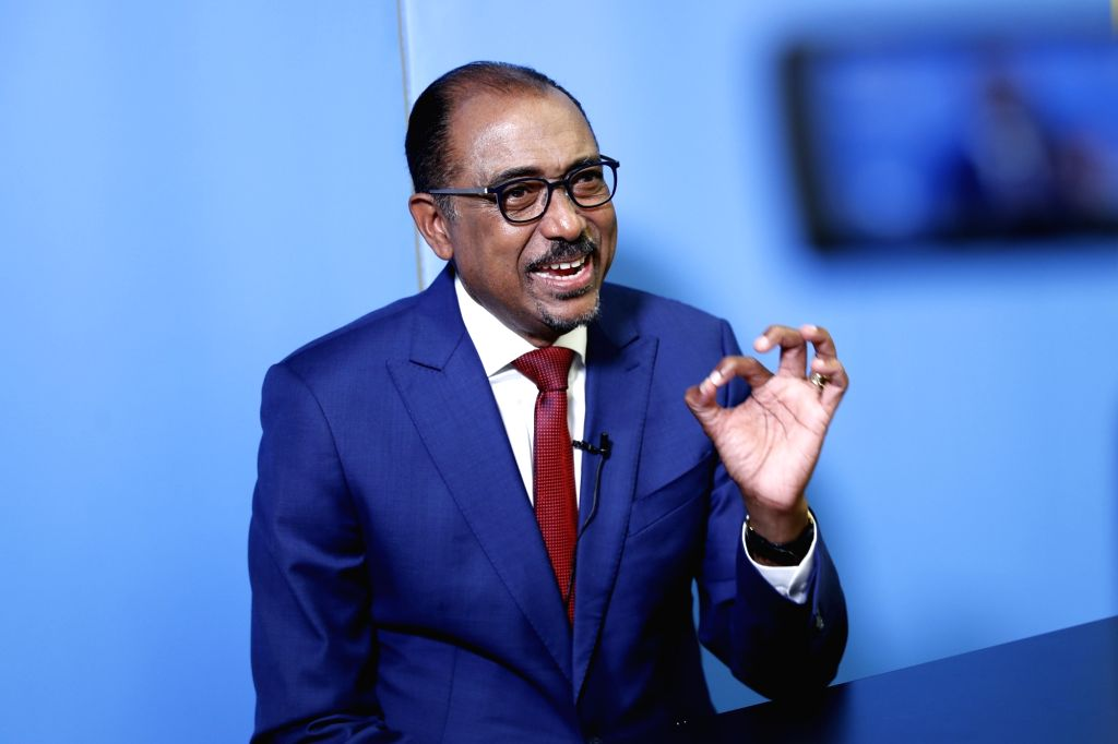 UNITED NATIONS, June 13, 2018 - UNAIDS Executive Director Michel Sidibe speaks during an interview with Xinhua News Agency at the United Nations headquarters in New York, on June 12, 2018. China is ...