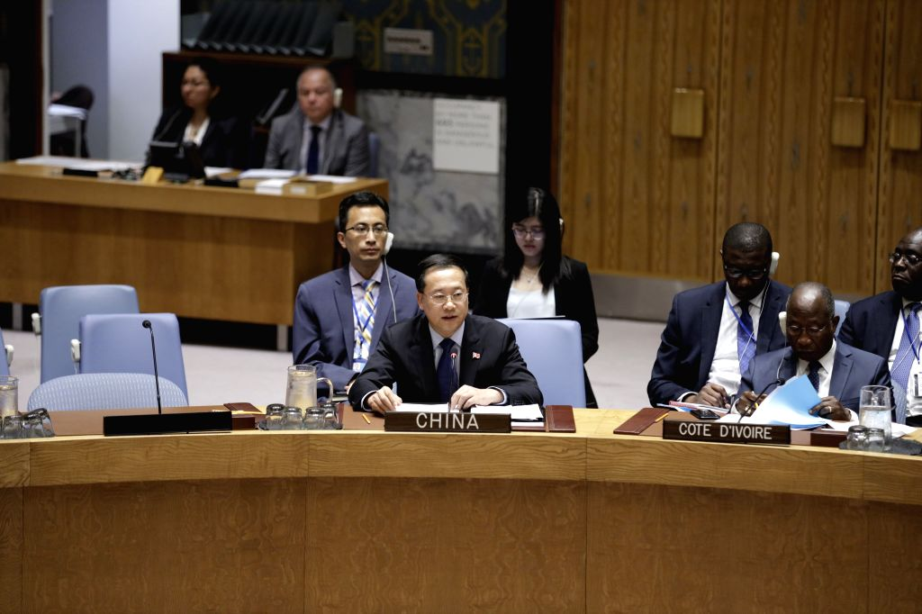 UNITED NATIONS, June 13, 2019 - China's permanent representative to the United Nations Ma Zhaoxu (L, front) addresses the Security Council meeting on cooperation between UN and the League of Arab ...