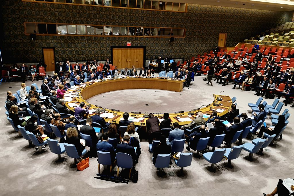UNITED NATIONS, June 13, 2019 - The photo taken on June 13, 2019 shows the United Nations Security Council meeting on cooperation between UN and the League of Arab States, at the UN headquarters in ...