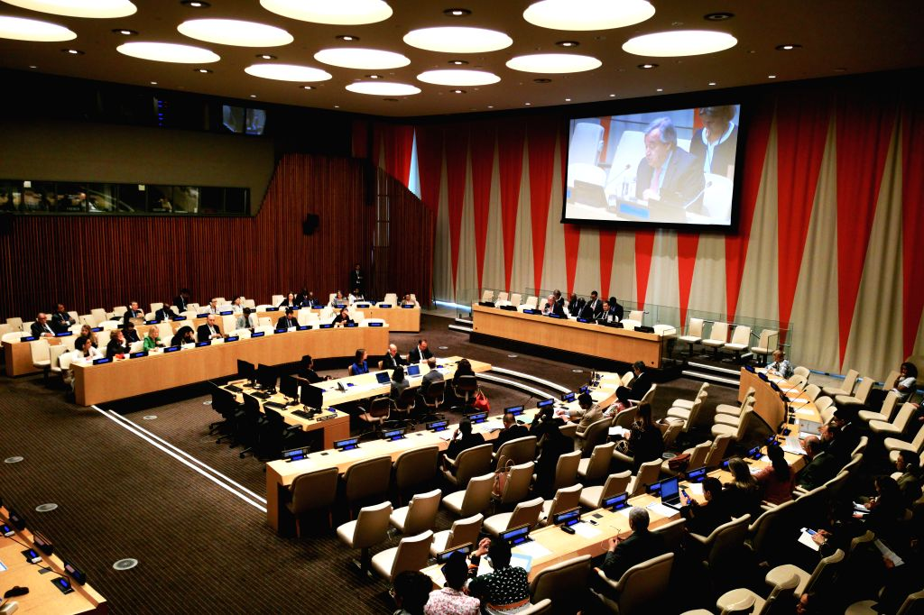UNITED NATIONS, June 18, 2019 - Photo taken on June 18, 2019 shows the launch of the United Nations Strategy and Plan of Action on Hate Speech at the UN headquarters in New York. UN Secretary-General ...