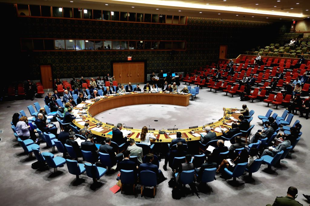 UNITED NATIONS, June 18, 2019 - Photo taken on June 18, 2019 shows the United Nations Security Council holding a meeting on peacekeeping operations, at the UN headquarters in New York. UN ...